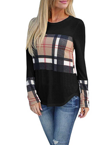 Clothing - Women's Patchwork Plaid Long Sleeve T-Shirts