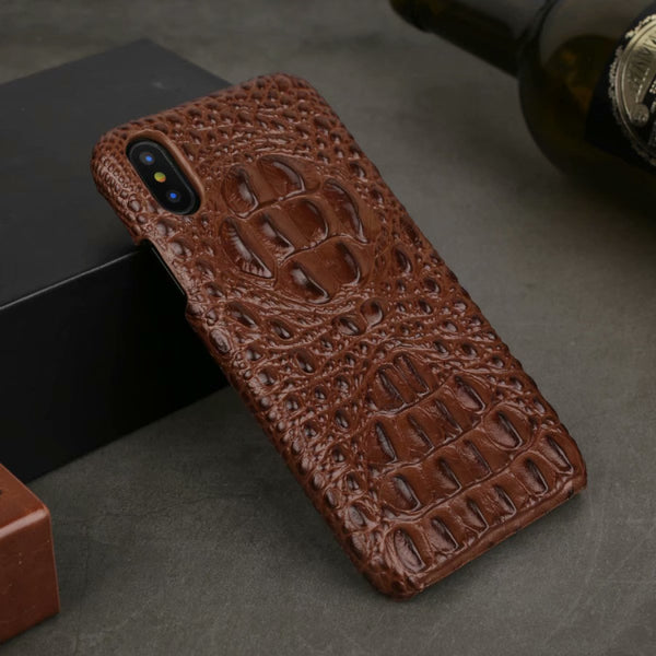 2019 Fashion 3D Crocodile Pattern Retro Genuine Leather Case for iPhone X XR XS Max 7 8 Plus
