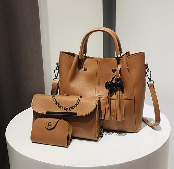 Women's Bags - 2019 New Brand Tassel Women Set 3 Pcs PU Leather Handbags