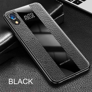 Phone Case - Luxury Original Litchi Leather Protective Phone Case For iPhone XS/XR/XS Max 8/7 Plus