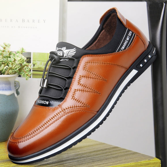 Kaaum Spring Autumn Men Breathable Comfortable Casual Leather Fashion Lace-up Shoes(Buy 2 Get Extra 5% Off; Buy 3 Get Extra 10% Off)