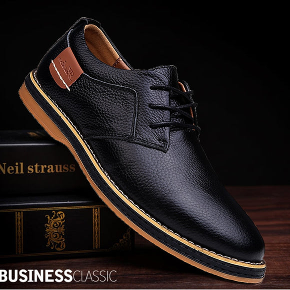 Men Oxford Shoes Genuine Leather Lace Up Office Business Casual Shoes  ( Extra Discount:Buy 2 Get 5% OFF, 3 Get 10% OFF)