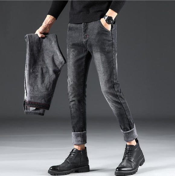 Men Stylish Winter Thick Warm Flannel Stretch Jeans