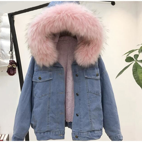 Fleece Hooded Warm Denim Jacket Coat
