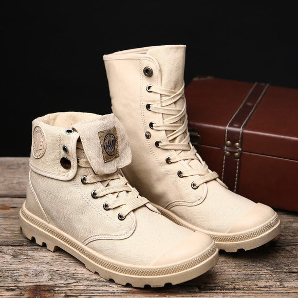 Kaaum High Quality Men's High Top Canvas Military Boots