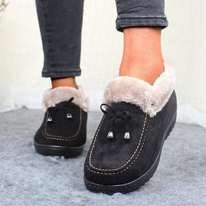 Ladies Winter Plush Lining Cotton Shoes Flat Boots