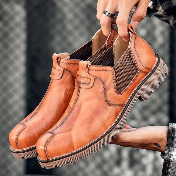 Kaaum Autumn Leather Retro Chelsea Boots