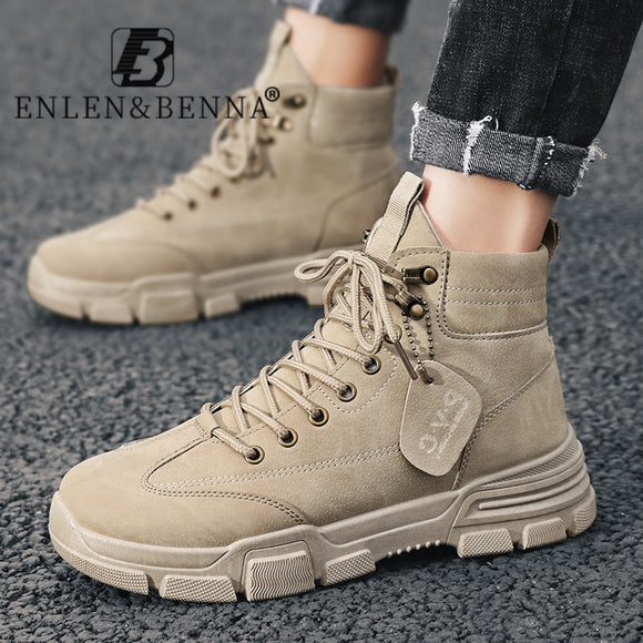 Men Boots Leather Waterproof Ankle Boots