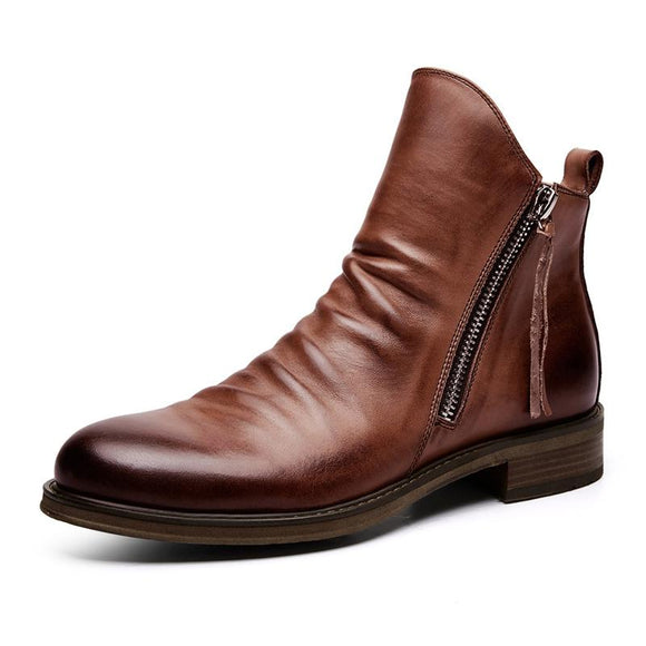 Kaaum Male Retro Leather Solid Zip Ankle Boots(Extra Buy 2 Get 10% OFF, 3 Get 15% OFF)