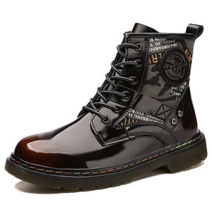 Kaaum New Winter Genuine Leather Rubber Motorcycle Boots