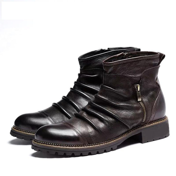 Kaaum 2020 Fashion Leather Retro Zipper Motorcycle Boots