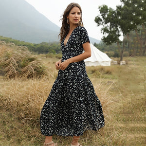 2020 Summer Floral Print Short-Sleeve V-neck Long Dress