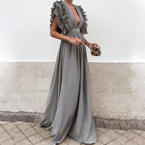 Elegant Deep V-Neck Women Long Dress