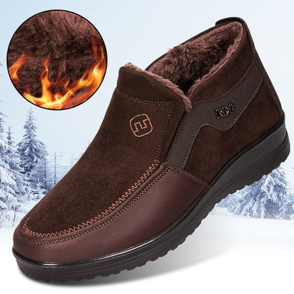 Kaaum Men Plus Size Warm Fur Boots