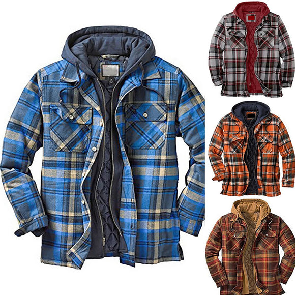 Kaaum Men's Hooded Plaid Jacket