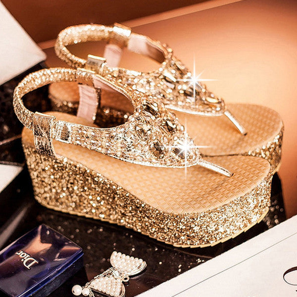 Shoes - Bling Bling Rhinestone Wedding Party Platform Sandals