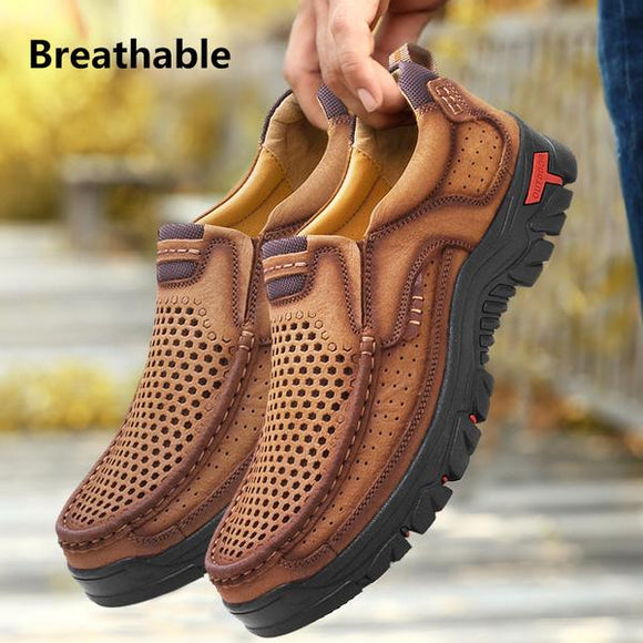 Men's Shoes - Spring Summer Fashion Genuine Leather Hollow Out Shoes