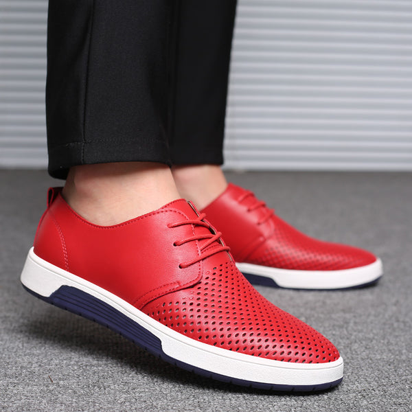 Men's Shoes - Summer Leather Casual Fashion Breathable Holes Leisure Shoes