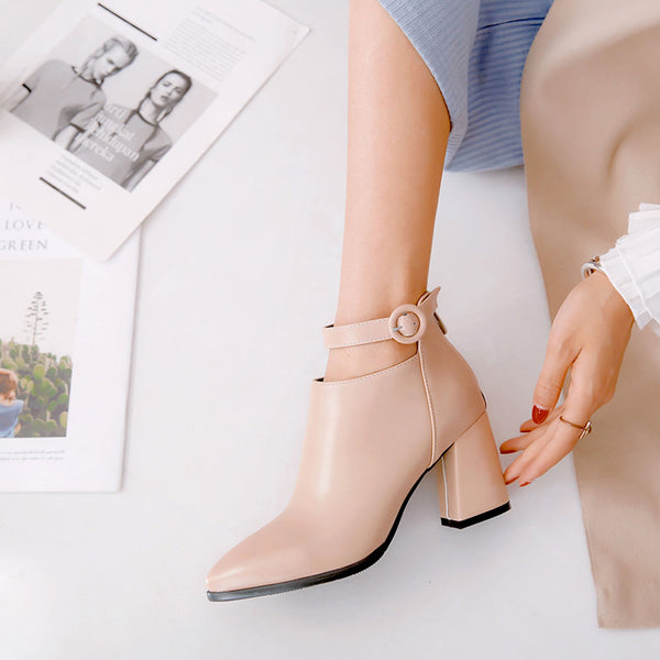 Shoes - 2018 New arrival Breathable Pointed Toe High Heel Zipper Ankle Boots