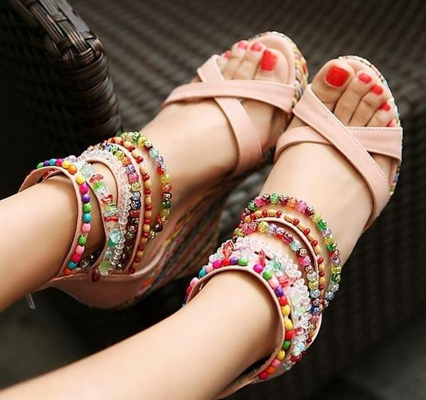 Shoes - 2018 Summer Ladies Beads Ankle Strap Platform Sandals