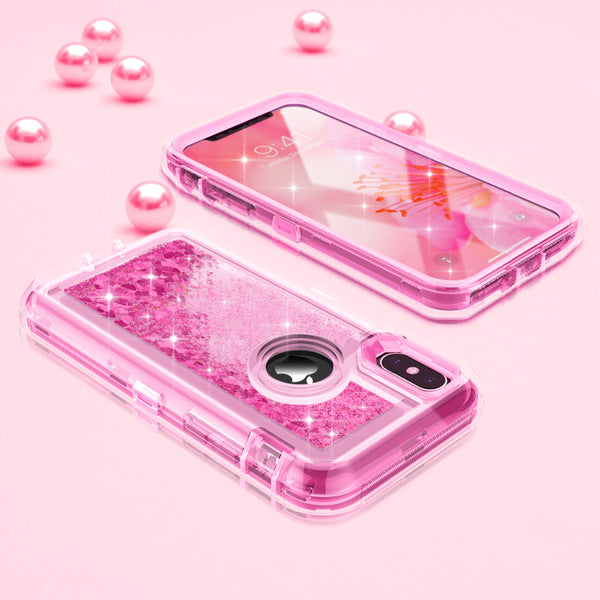 Phone Case - 3 Layers Shockproof Glitter Sparkling Dynamic Sands Full Protection Case For iPhone XR XS(Max) X 8 7 6S 6/Plus