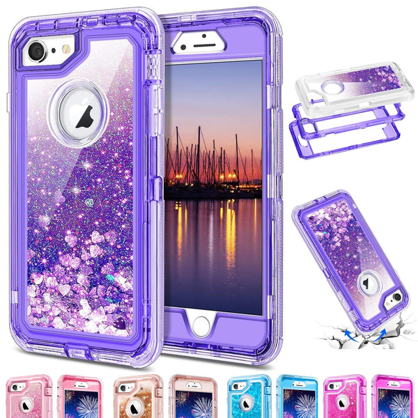 Phone Case - 3 in1 TPU Bling Clear Quicksand Case For Iphone