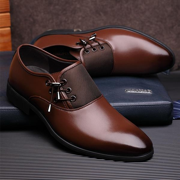 MXL Mens Ankle Shoes Smooth PU Leather Upper Slip-on Breathable Formal Business Shoes