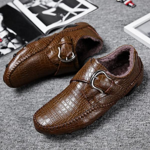 Shoes - Men's  Crocodile Style Leather Loafers Driving Shoes