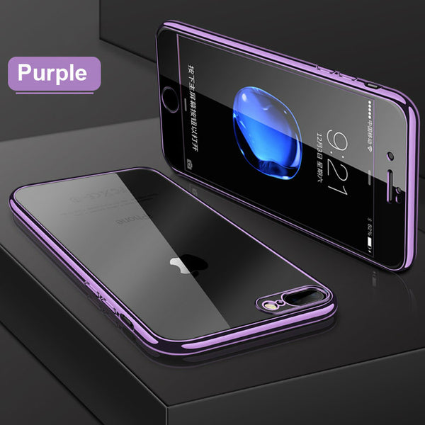 Phone Case - Luxury 360 Degree Full Protection Silicone Clear Transparent Cover With Tempered Glass Screen Protector