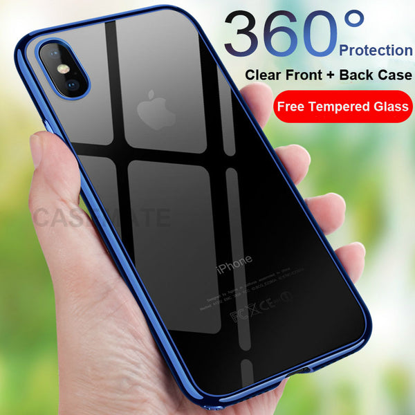 Phone Accessories - Ultra Thin Transparent Plating Shining 360° Full Protection Case for iPhone X/8/7 Plus (Gift Tempered Glass Protector)
