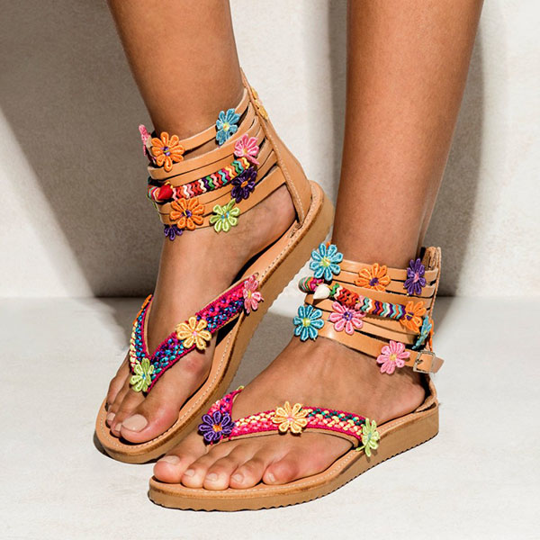 Women's Sandals - 2018 Fashion Women's Summer Handmade Boho Elegant Bohemian Chic Flat Sandals