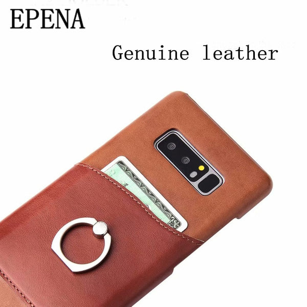 factory authentic 7f9da bd158 Ring Button Real Leather Card Slot Case For Samsung Galaxy S8 S9 + Note 8 9