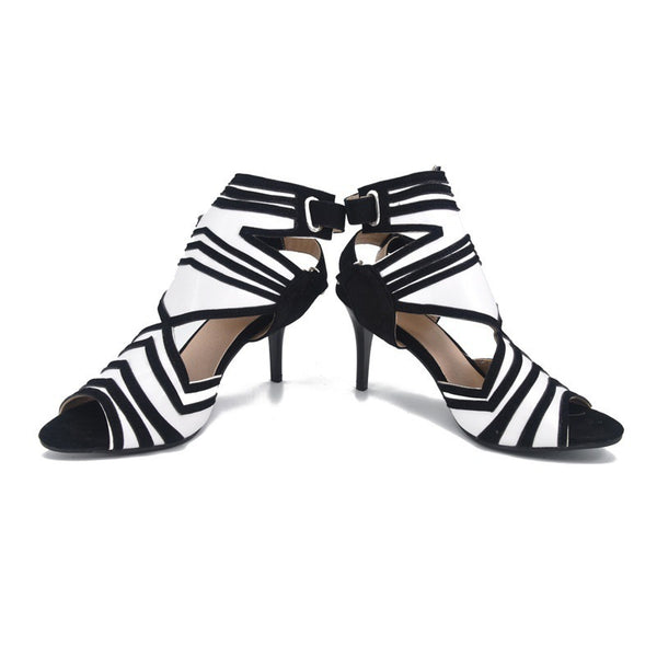Shoes - 2018 Women Fashion Sexy High Heel Sandals Thin Heel Black and White Gladiator Shoes