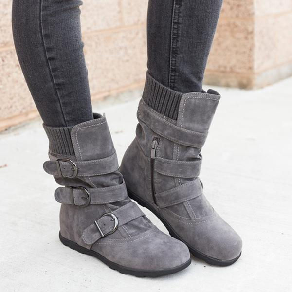 Women's Boots - 2018 New arrival Ladies Fashion Low Calf Buckled Boots