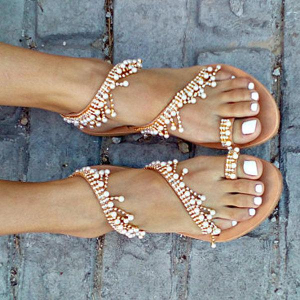 Sandals - Bohemian Pearl Tassel Clip Toe Beach Flat Sandals
