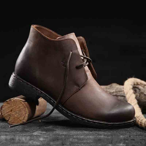 Men's Boots - 2018 Men's Casual Leather Hightop Buckle Vintage Gentlemen Cow Split Leather Boots
