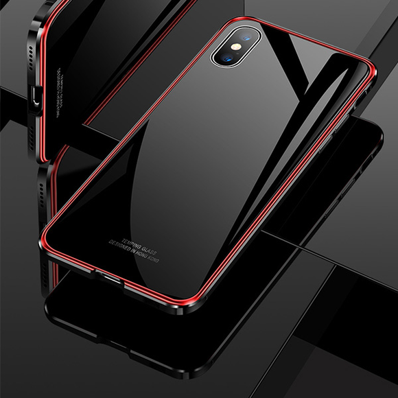 Metal frame Tempered glass Case For iPhone X XR XS XS Max 7 8 Plus