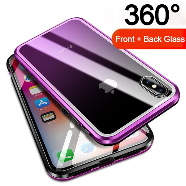 Phone Case - Aluminum Frame Magnet Adsorption Cover for iPhone X Xs MAX XR