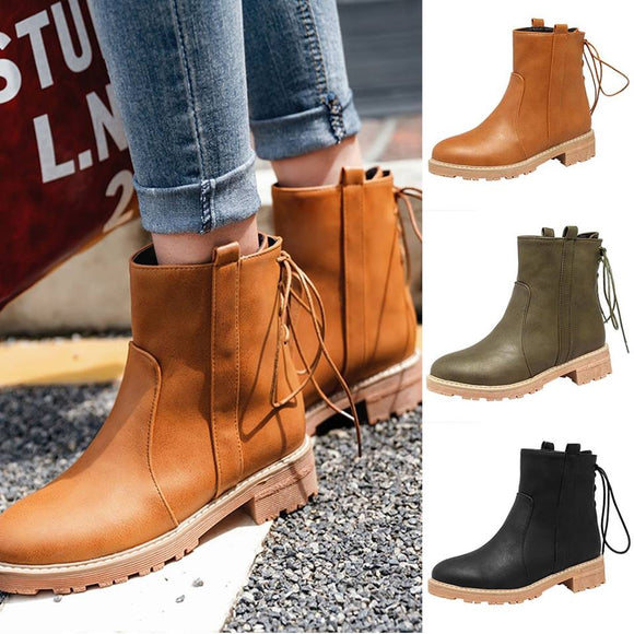 2019 Winter Fashion High Quality Leather Casual Ankle Boots