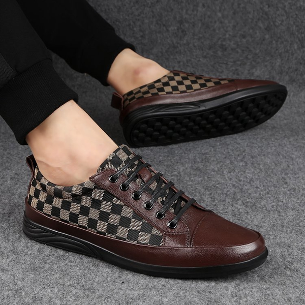 Mens Shoes 2019 Men Fashion Hot Sale Business Casual Grid Genuine