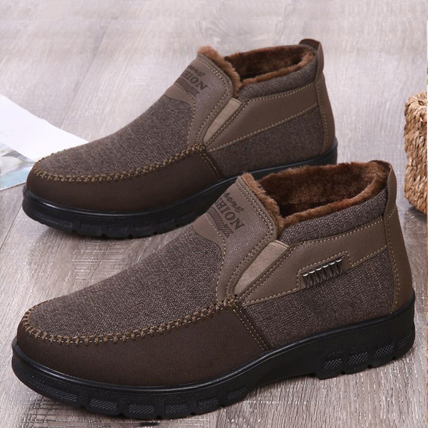 2019 Men's Casual Comfortable Flat Slip On Leather Warm Boots Shoes