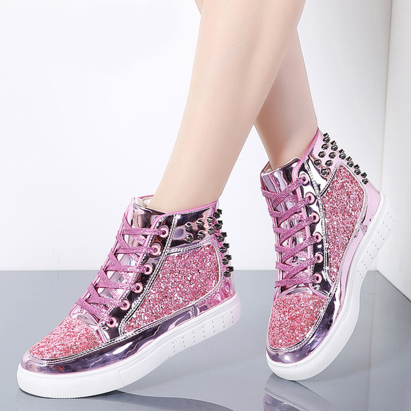 Shoes - Women Fashion Flats Rivet Sequins Shiny Shoes