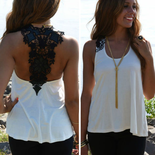 Clothing -  Sexy Summer Plus Size Crochet Lace Back Tank Top