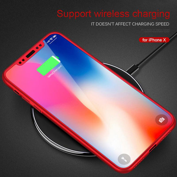 Full Body Cover Case with Tempered Glass for iPhone XS MAX XR X 8 7(Buy 2, second one 20% off)