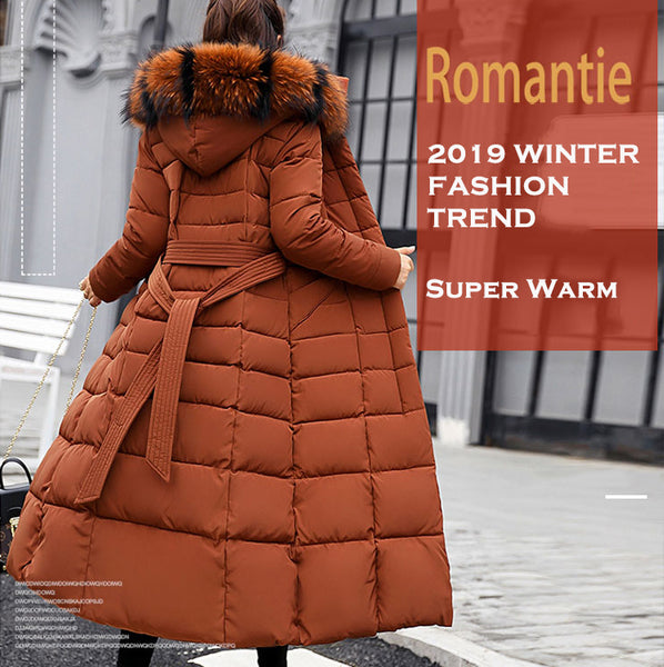 2019 Winter Ladies Fashion Fur Warm Long Down Jackets