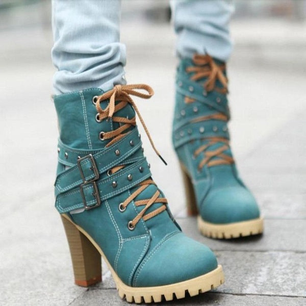Women Autumn Winter Warm Buckle Straps Width High Heel Ankle Boots