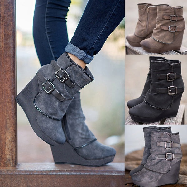 Women Sexy Double Buckle Casual Style Autumn Winter Zipper Boots