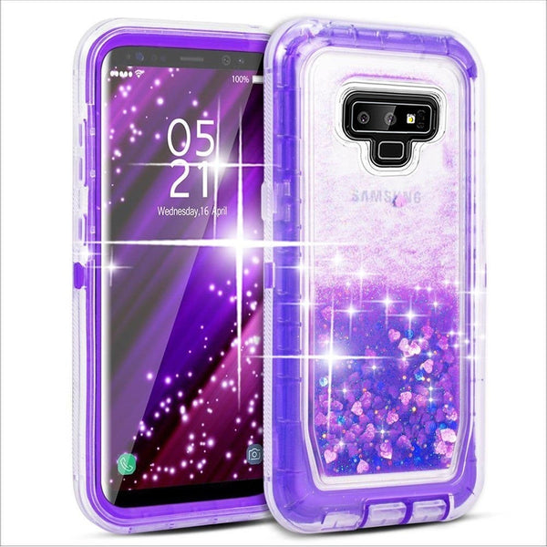 Phone Case - 3 Layers Bling Glitter Quicksand Shockproof Case For Samsung Note 9/8 S9 S8/Plus
