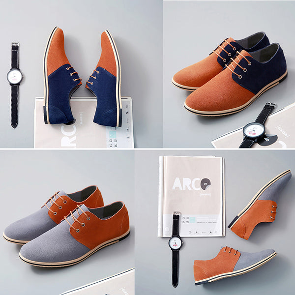 Men's Shoes - Spring Summer Fashion Patchwork Split Leather Men Casual Shoes