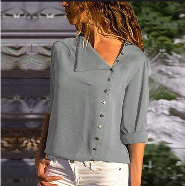 Blouses - Women's Rollable Sleeve Button Front Blouses